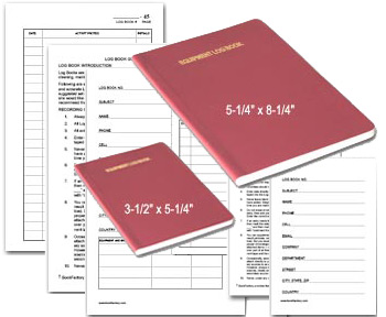 mini and pocket sized equipment log books with pages formatted for recording data
